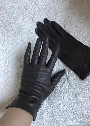 Роскошные лайковые перчатки из натуральной кожи, цвет шоколад, кожаные