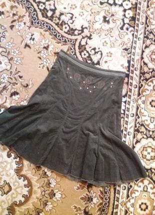 Вельветовая юбка тёмно-зеленого цвета terranova s