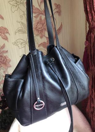 Объемная кожаная сумка мешок, бочонок, натуральная кожа, picard
