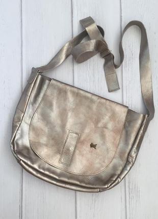 Крутая сумка через плечо меланжевая {пятнистая} кожа натуральная