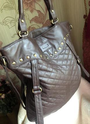 Огромная кожаная сумка шоппер, натуральная кожа,