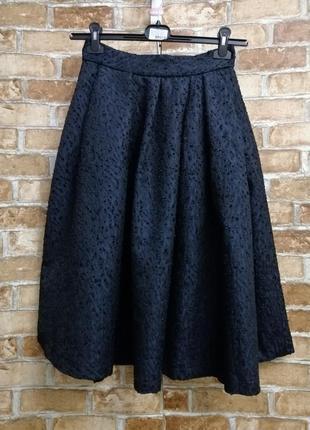 Синяя юбка миди с карманами