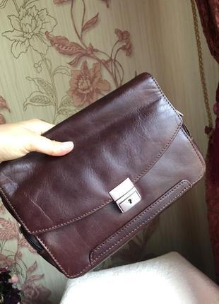 Добротная статусная кожаная сумка барсетка, натуральная кожа, иран