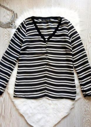 Черная белая рубашка блуза в полоску с глубоким декольте пуговичками зара рукава