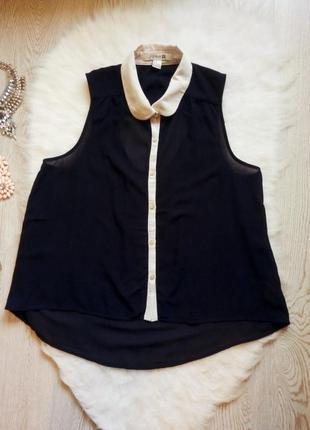 Синяя блуза рубашка с белым воротником и кантом шифон майка без рукава