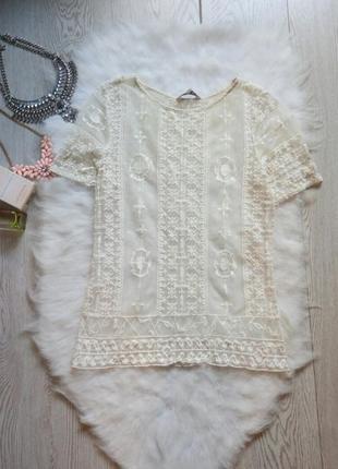 Белая молочная ажурная блуза майка футболка гипюр с вышивкой с рукавами нарядная