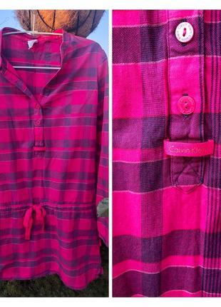 Яркая брендовая оригинальная туника / удлиненная блуза в клетку от calvin klein 🛍
