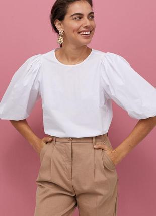 Хлопковая блуза блузка с объемными рукавами фонариками от h&m