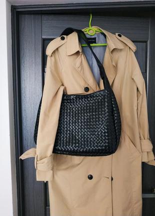 Кожаная плетёная сумка хобо в стиле bottega veneta