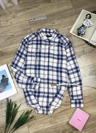 M&s тёплая байковая рубашка в клетку с перламутровыми заклёпками 😍