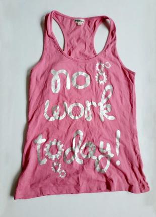 Inside for girl  розовая майка футболка с надписью no work today боксерка