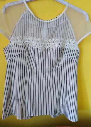 Очень красивая блуза в полоску с жемчугом