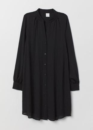 Платье рубашка /туника h&m чёрная однотонная воздушная