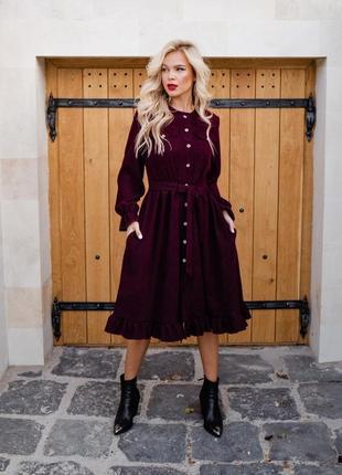 Роскошное вельветовое миди платье
