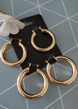 Обємні сережки кільця, серьги кольца  asos