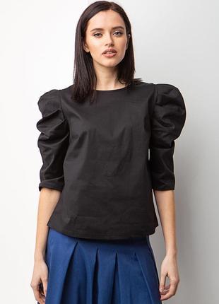 Хлопковая блуза с рукавами буфами чёрного цвета