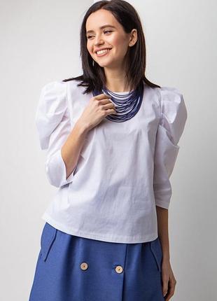 Хлопковая блуза с рукавами буфами белого цвета