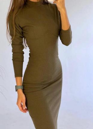 Платье миди в рубчик оливковое, хаки