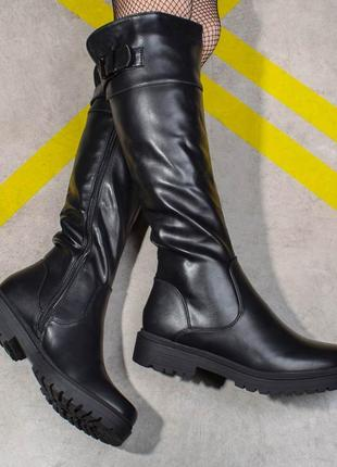 Сапоги зимние на низком каблуке (326723)