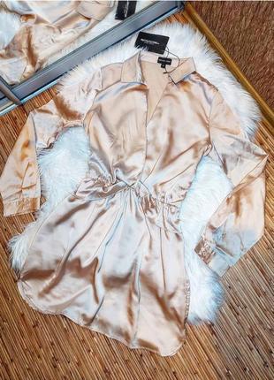 Атласное платье рубашка на запах бежевое пудровое розовое персиковое нюдовое plt