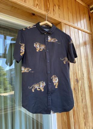 Крутая рубашка блузка сорочка с тиграми анималистический принт