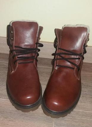 Мужские ботинки коричневые на меху