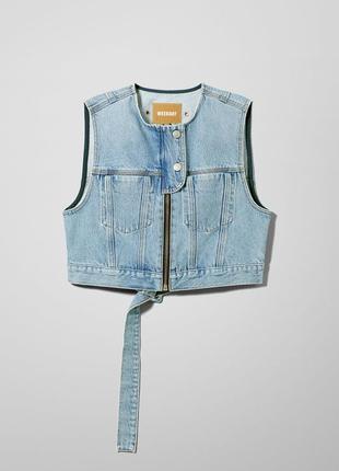 Укороченный джинсовый жилет, weekday, р.m