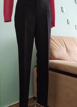 Шерстяные женские классические брюки темно коричневого цвета