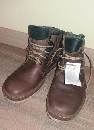 Мужские кожаные ботинки класика зимние