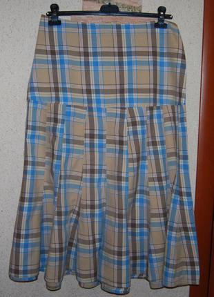 Интересная длинная натуральная юбка годе в клетку пот 44 см