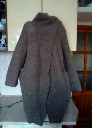 Новое итальянское пальто куртка кардиган бохо оверсайз 60% шерсть цвет мокачино