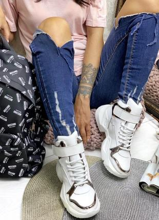 Кроссовки сникерсы кожа замш платформа