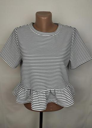 Блуза топ новая в полоску с оборкой h&m m