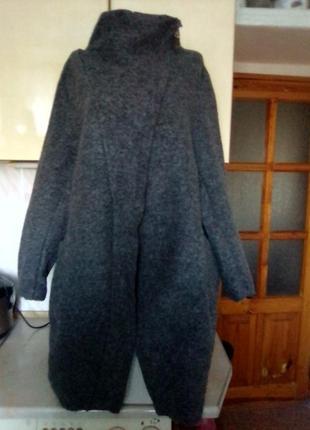 Новое итальянское пальто куртка кардиган 60% шерсть италия бохо оверсайз батал