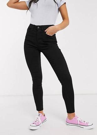 🎁1+1=3 базовые зауженные узкие женские черные джинсы скинни tom tailor, размер 44 - 46
