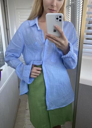 100% лён голубая простая рубашка l