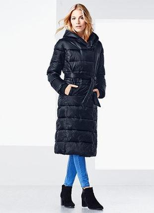 Длинное стеганое демисезонное пальто