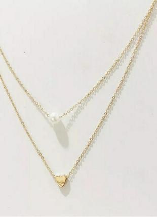 Цепочка золотистая многослойная с подвеской сердце жемчуг ланцюжок