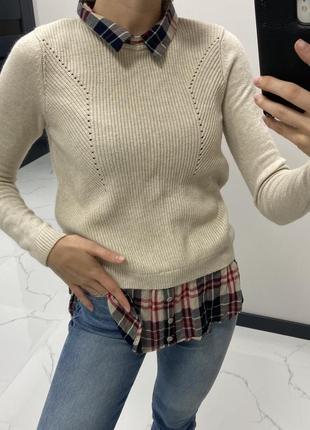 Вязаная кофта свитер с рубашкой