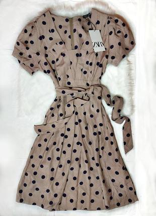 Нюдовое  миди платье в горошек с поясом zara