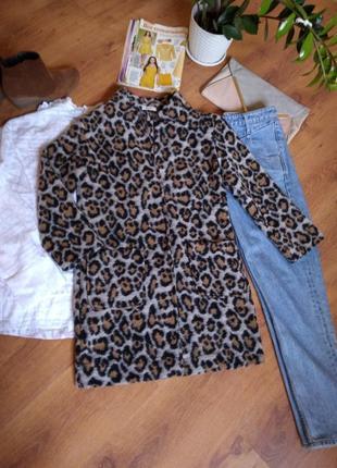 Тренч -пальто леопардовое.  португалия.24%шерсть