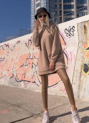 Удлиненный батник туника бежевый худи женская толтовка удлиненная