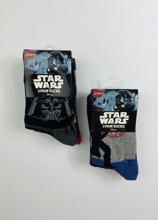 Набор носков (3 ед) звёздные войны 🌒тм disney