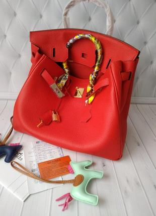 Женская красная сумка в стиле hermes birkin 💢