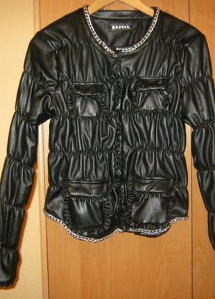 Модная дутая куртка из искусственной кожи