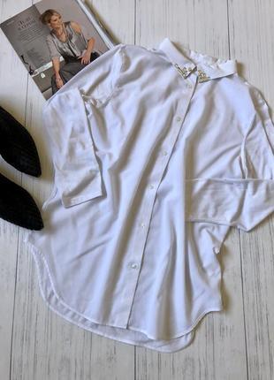 Белая удлинённая рубашка оверсайс h&m