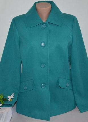 Брендовое бирюзовое демисезонное пальто полупальто с карманами damart этикетка