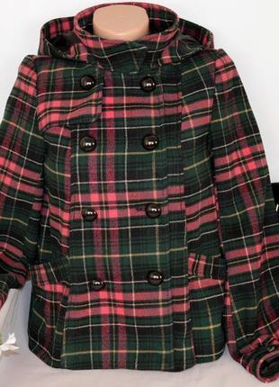 Демисезонное пальто полупальто с капюшоном и карманами в клетку divided этикетка
