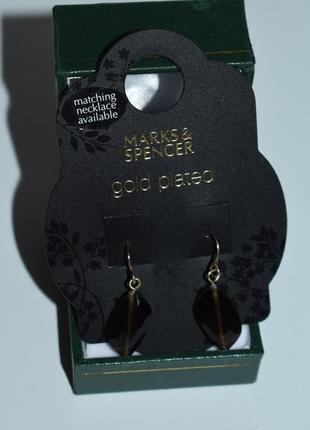 Шикарные серьги с подвесками marks&spencer gold plated англия винтаж