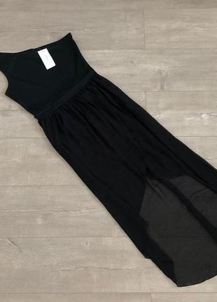 Новое с биркой стильное черное платье с фатиновой юбкой